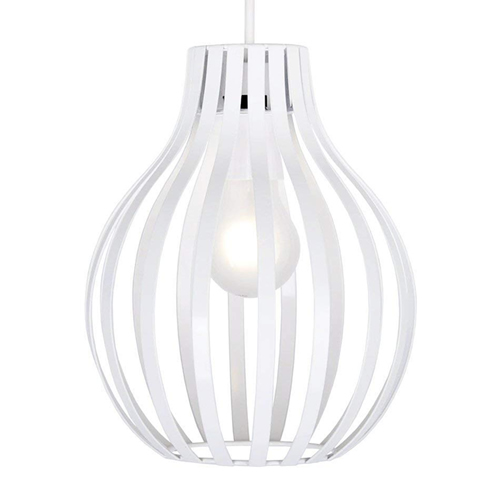 Gloss White Metal Cage Style Ceiling Pendant Light Hire